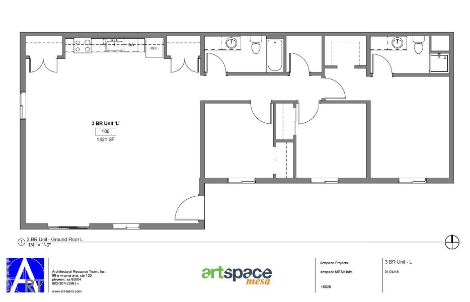 3 Bedroom L-Shaped Floorplan