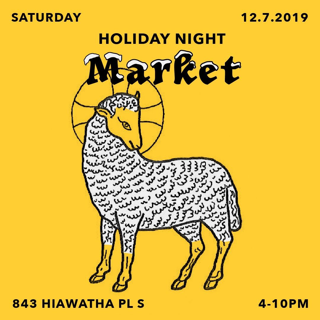 Holiday Night Market Graphic - a sheep with a halo