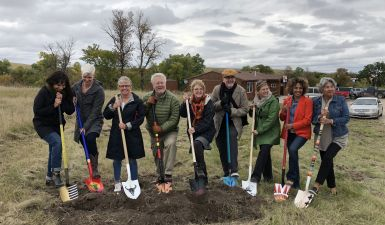Ground breaking ceremony at Oglala Lakota Artspace Center. Photo by Naomi Chu, 2018.