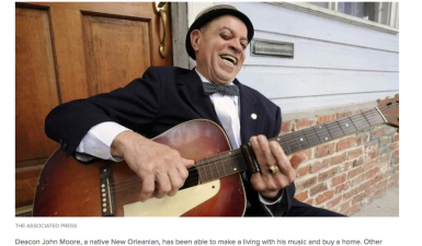 Deacon John Moore, a native New Orleanian, has been able to make a living with his music and buy a home. Other musicians struggle to pay the rent.